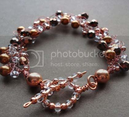 Swarovski pearl and copper wire bracelet 1